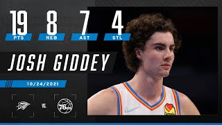 Josh Giddey stuffs the stat sheet vs. the 76ers 📝