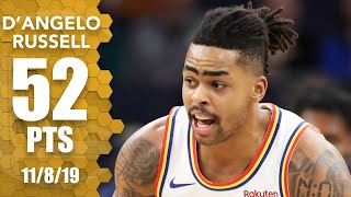 D'Angelo Russell scores career-high 52 in Warriors-Wolves OT thriller | 2019-20 NBA Highlights