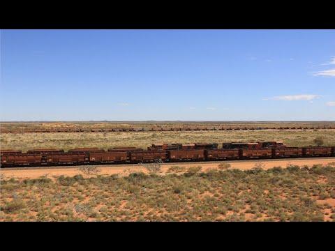 THREE IRON ORE TRAINS IN ONE FRAME: Pilbara FMG & BHP Iron Ore Trains
