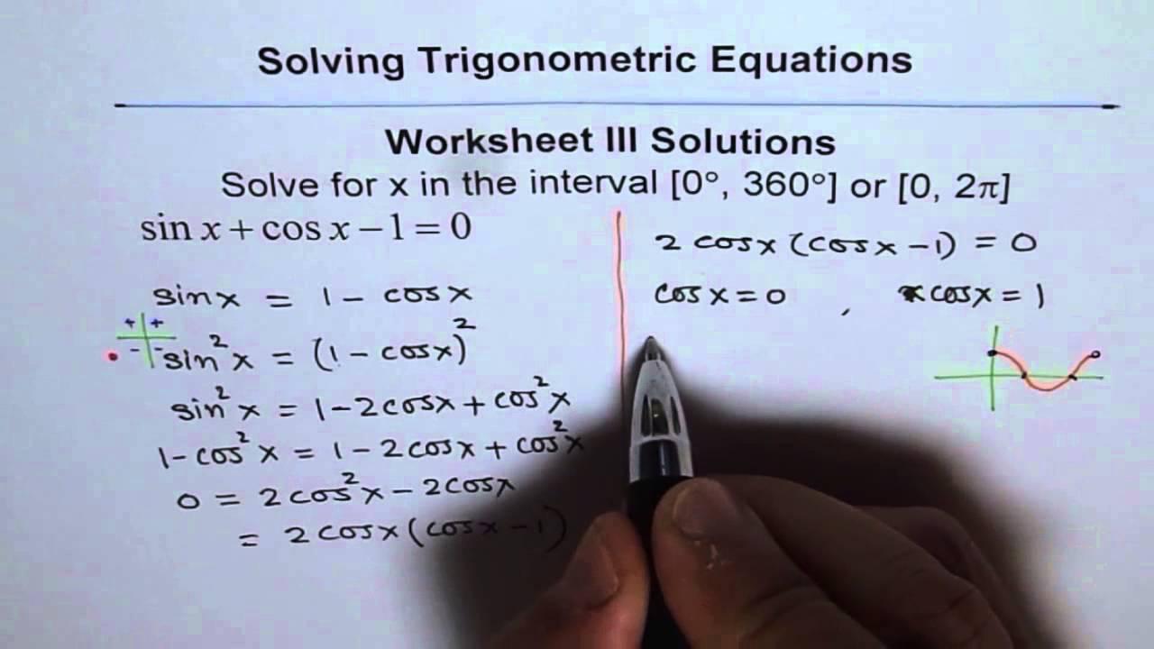 Trigonometric Equations Worksheet 3 Solution Q1 YouTube – Solving Trig Equations Worksheet