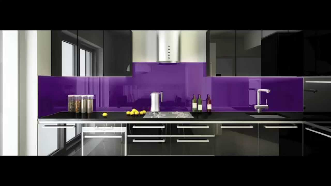 Why you should replace your kitchen tiles with glass for Black and purple kitchen ideas