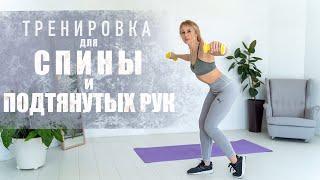 Тренировка для спины и подтянутых рук Упражнения для начинающих в домашних условиях Фитнес дома