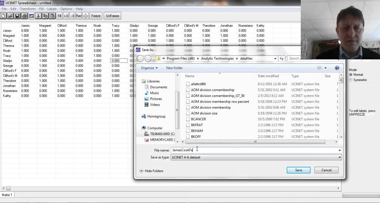 UCINET Walkthrough: the Matrix Spreadsheet Editor and NetDraw