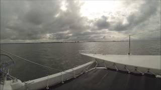 Woods Gypsy catamaran   Water Music sailng home 2016