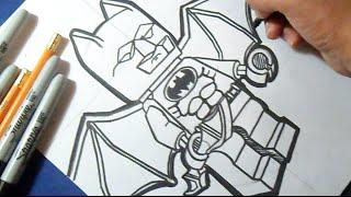 Como desenhar BATMAN (homem Morcego)  - LEGO