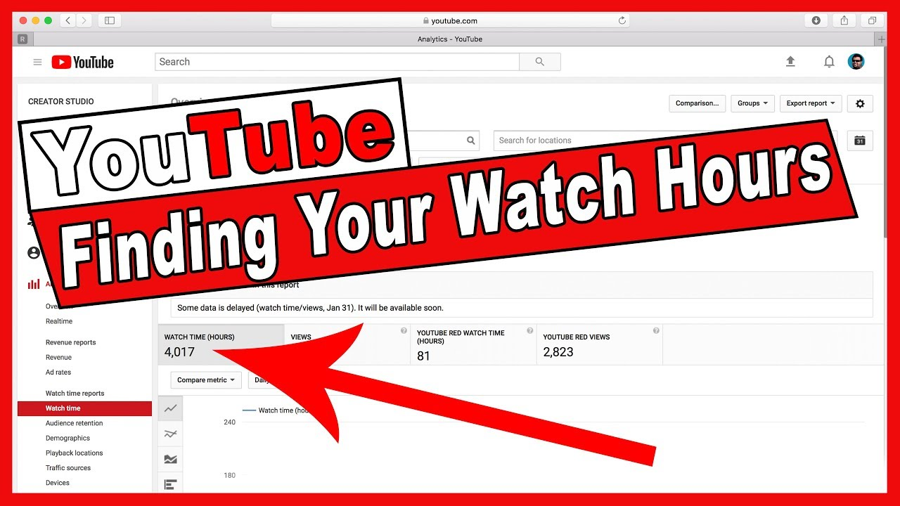 Find You're YouTube Watch Hours For your channel - YouTube