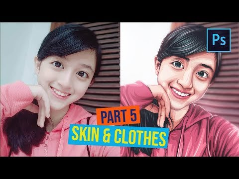 [ Photoshop Tutorial ] How to Cartoonize a Picture in Photoshop - (PART 5 SKIN & CLOTHES) thumbnail