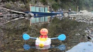 アンパンマンボートが四万十川で鮎の火振り漁体験 thumbnail