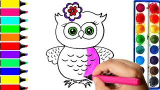 How To Draw An Owl | Draw and Color | Learn Colors For Kids