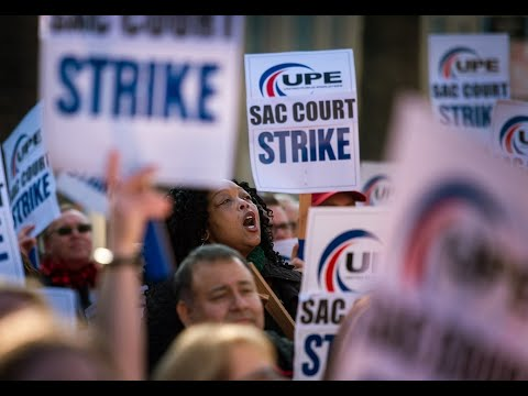 Watch court workers strike at Sacramento county courthouse