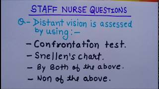 Staff nutse questions II eye checkup II snellen chart II confrontation test