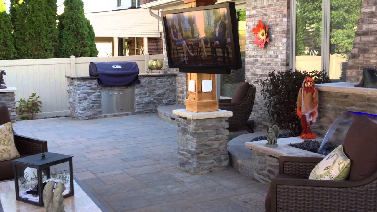 http://www.antonellilandscape.com This Project Features A Custom Cedar Covered Gazebo with a Television and Recessed lighting. We Constructed a Masonry Stone...