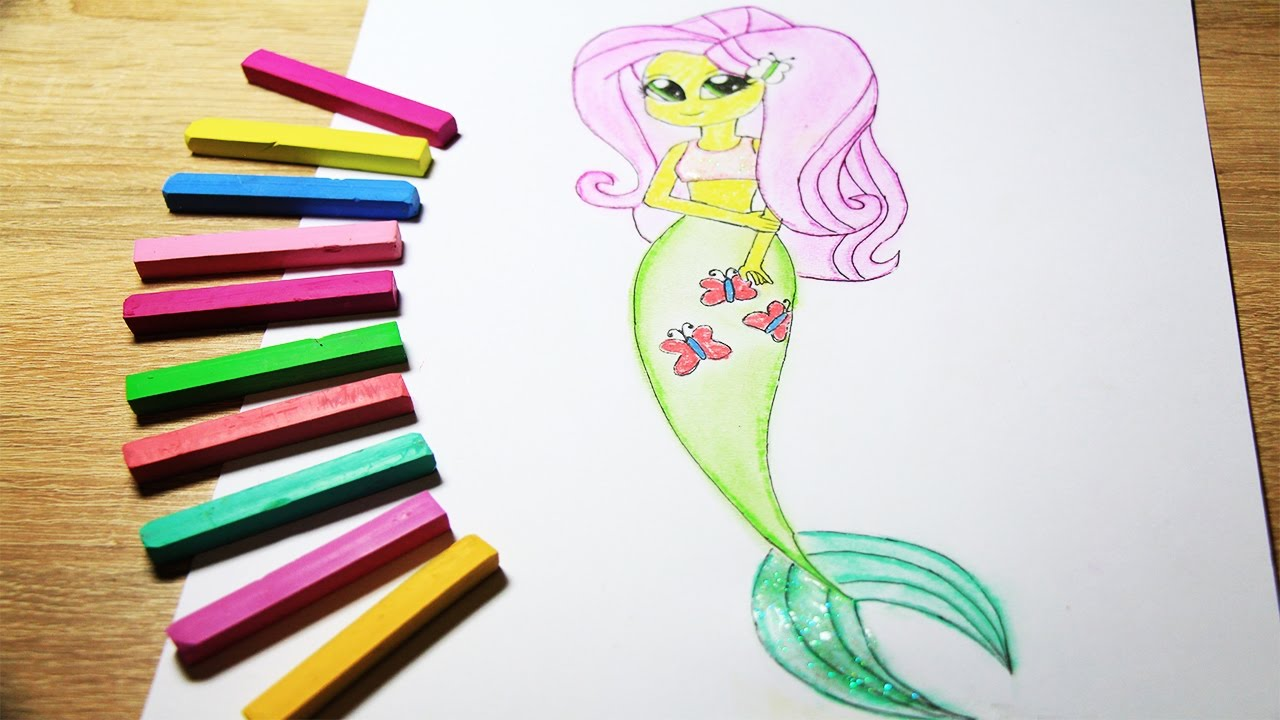 My Little Pony How To Draw Fluttershy Mermaid Coloring Video For Kids