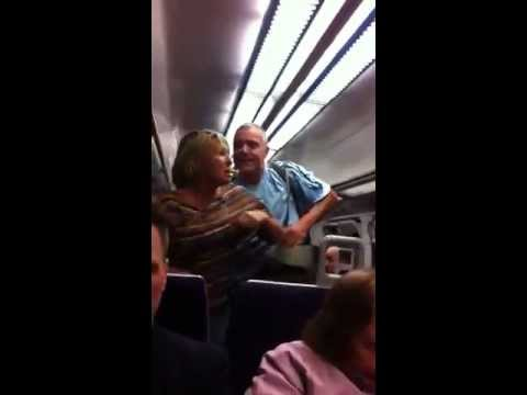 Crazy Couple Fighting On London Charing Cross train.