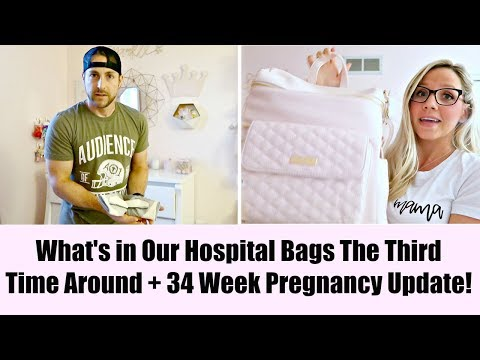 WHAT'S IN MY HOSPITAL BAG FOR BABY #3+ 34 WEEK PREGNANCY UPDATE…NOT GAINING WEIGHT