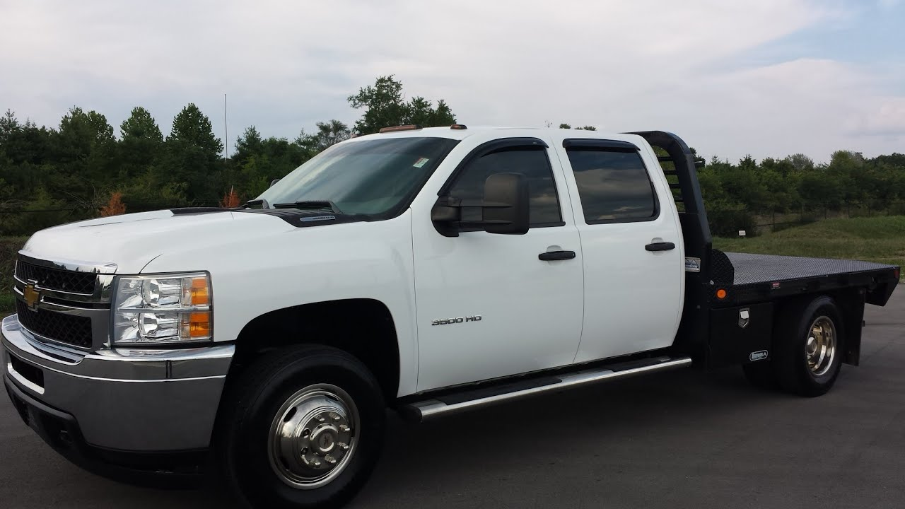 Sold 2011 chevrolet silverado 3500 crew cab drw 4x4 6 6 duramax flat bed body 64k call 855 507 8520 youtube