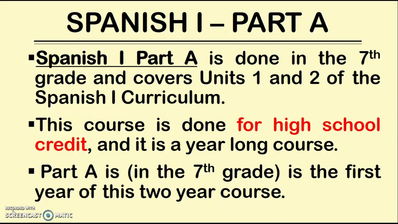 GRADE 7 SPANISH 1 - PART A (HIGH SCHOOL CREDIT) - CURRICULUM NIGHT