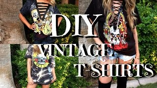 DIY DUPE VINTAGE BAND T-SHIRTS | BACK TO SCHOOL |CACI TWINS