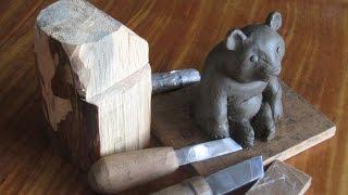 Резьба по дереву обучение вырезать медведя урок № 2