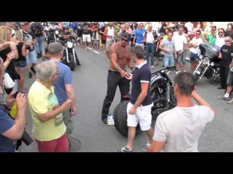 How to Crash Like A Boss- Shirtless Harley Guy Falls Off Bike
