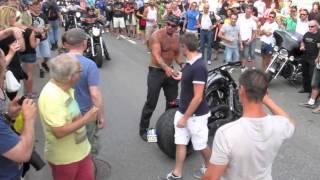 How to Crash Like A Boss- Shirtless Harley Guy Falls Off Bike