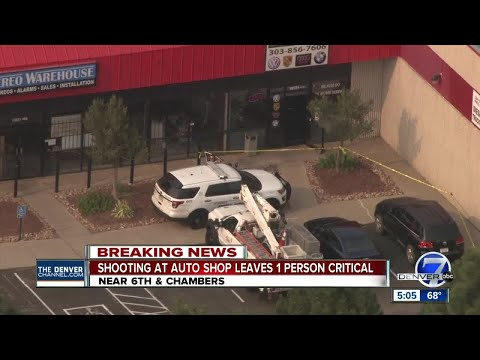 Man in critical condition after shooting at Aurora auto repair shop