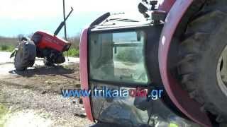 Repeat youtube video Τρίκαλα φοβερό Τροχαίο ατύχημα Βαλτινό  Διαλεχτό τρακτέρ  κόπηκε στη μέση Παρασκευή 21 3 2014