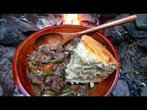 Primitive Cooking - Campfire Beef Stew & Corn Bread Recipe - Survival Cooking