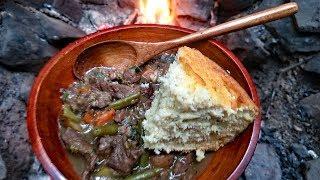 Primitive Cooking - Campfire Beef Stew & Corn Bread Recipe - Survival