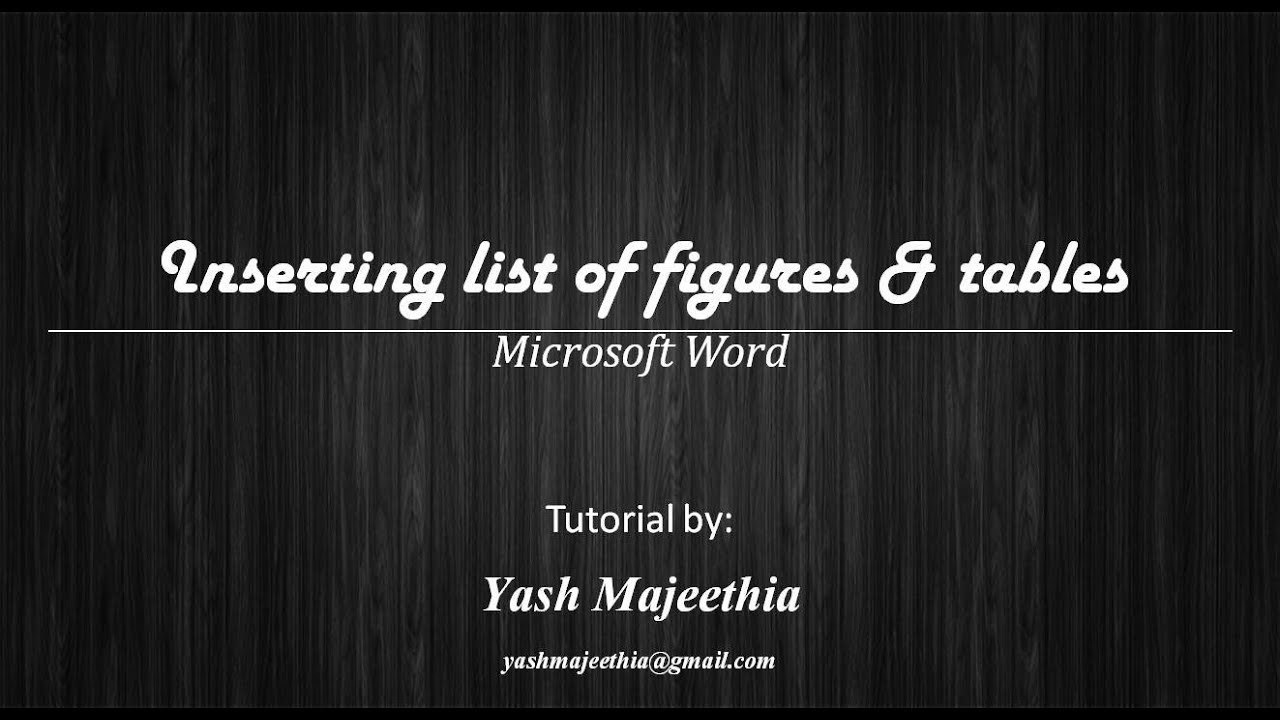 how to put list of figures in word