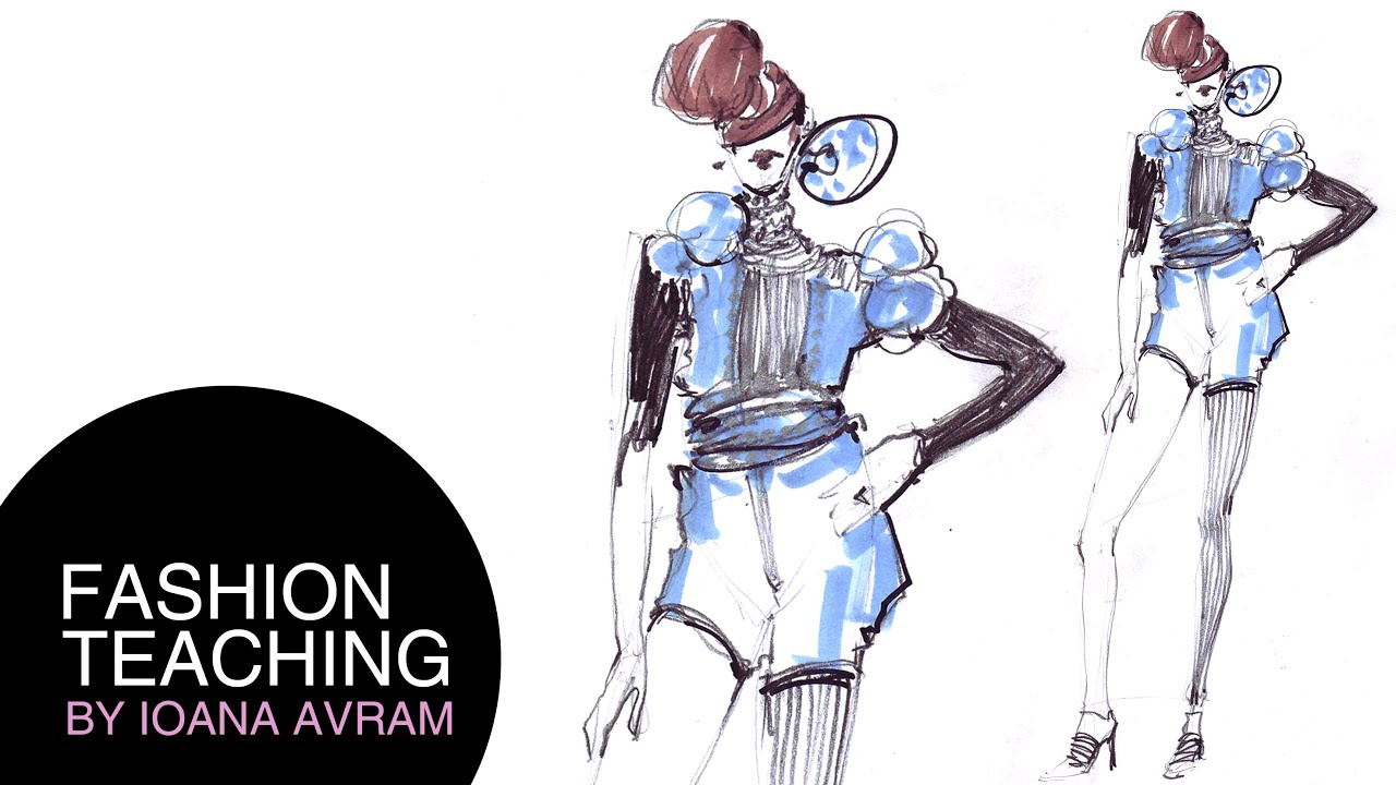 Easy fashion design drawing - YouTube