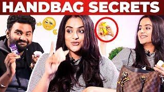 Actress Prachi Tehlan Handbag Secrets Revealed by Vj Ashiq | What's Inside the Handbag?