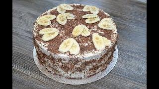 """Торт """"Банановый""""//Бисквитный торт с кофейно-шоколадным кремом"""