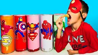 프링글스를 먹으면 무엇으로 변할까요?! 알리의 마법 프링글스 Making Pringles | Superhero Toy play super hero kids 아이언맨 과자