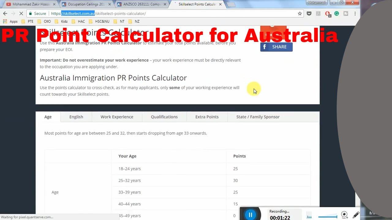 Skill assessment | australia point calculator | australian.