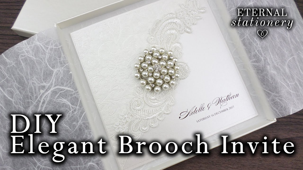 with pearl product brooch vintage wedding large invitations ivory box lace invitation gatefold