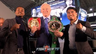 ERROL SPENCE & MIKEY GARCIA POSE OFF WITH TITLE BELTS & IN DALLAS ONE MONTH AWAY FROM FIGHT