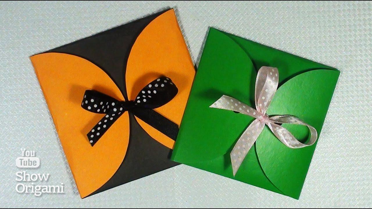 Как сделать квадратный конверт из картона для маленького подарка или денег