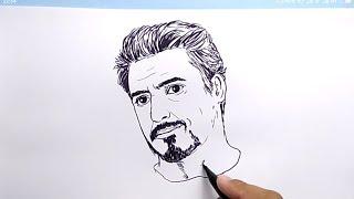 VERY EASY !, How to draw TONY STARK IRONMAN avengers endgame  / NO PENCIL, NO ERASER,