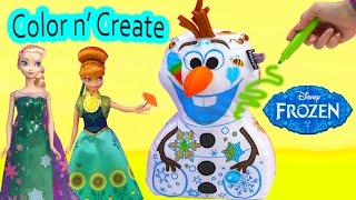 frozen olaf snowman disney inkoos washable color n create drawing plush unboxing queen elsa anna