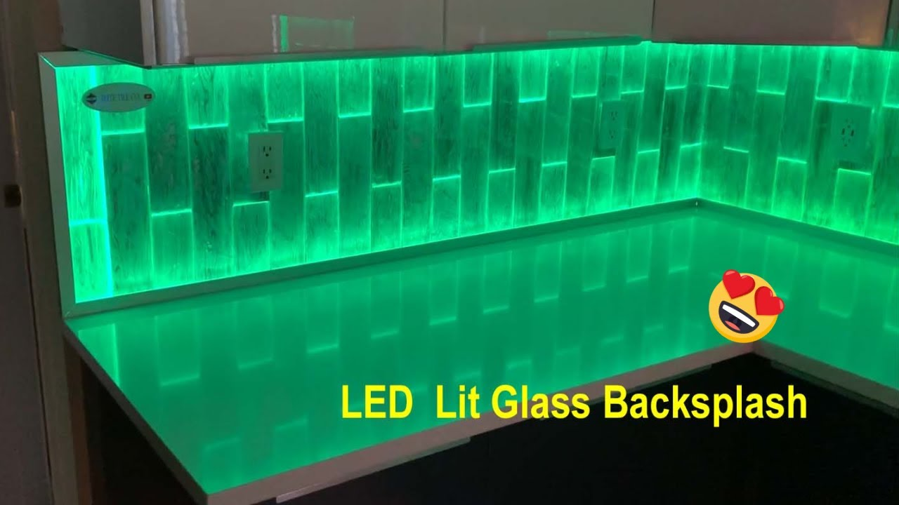 - Amazing LED Backlit Glass Tile Backsplash, See It Installed. - YouTube