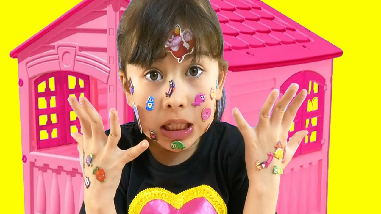 Angela as Abby Hatcher pretends she has a sticker pox! Useful video for children