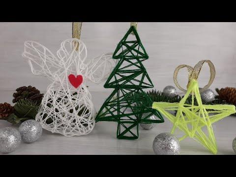 Новогодние игрушки из ниток и клея своими руками