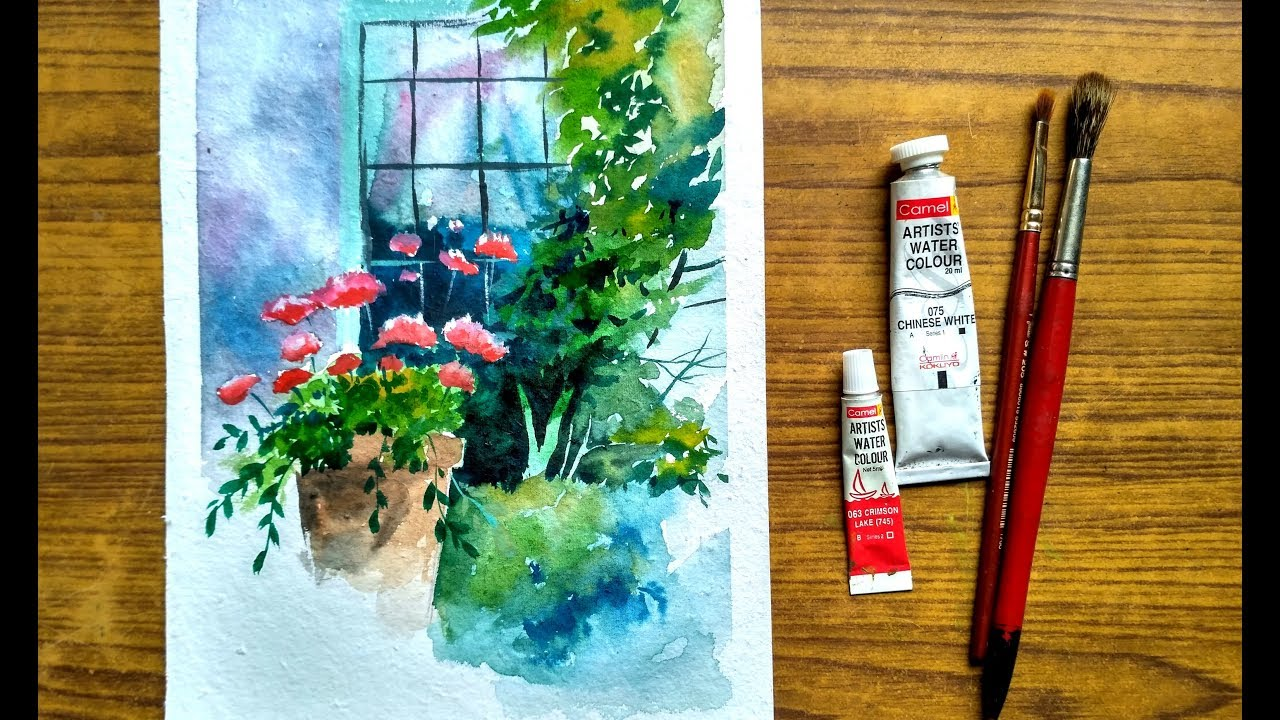 How To Paint A Windows And Flowers In Watercolor Paint