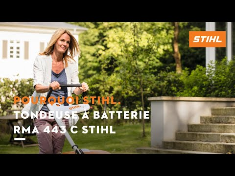 tondeuse batterie rma 443 c stihl youtube. Black Bedroom Furniture Sets. Home Design Ideas