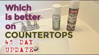 45 Day Update | Spray Paint Bathroom Vanity Countertops Rustoleum & Krylon | Update Your Countertops