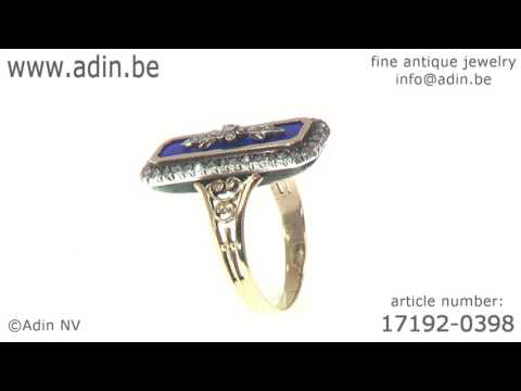French antique Victorian enameled ring with rose cut diamonds. (Adin reference: 17192-0398)