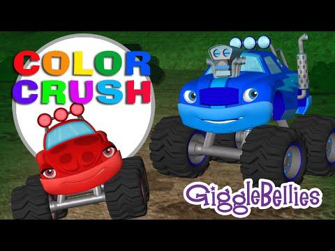Monster Trucks Crush Some Colors!   GiggleBellies