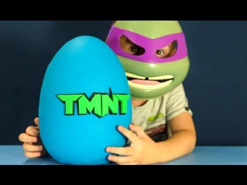 Giant Play Doh Surprise Egg - TMNT action figures. Игрушки Черепашки Ниндзя на русском языке.