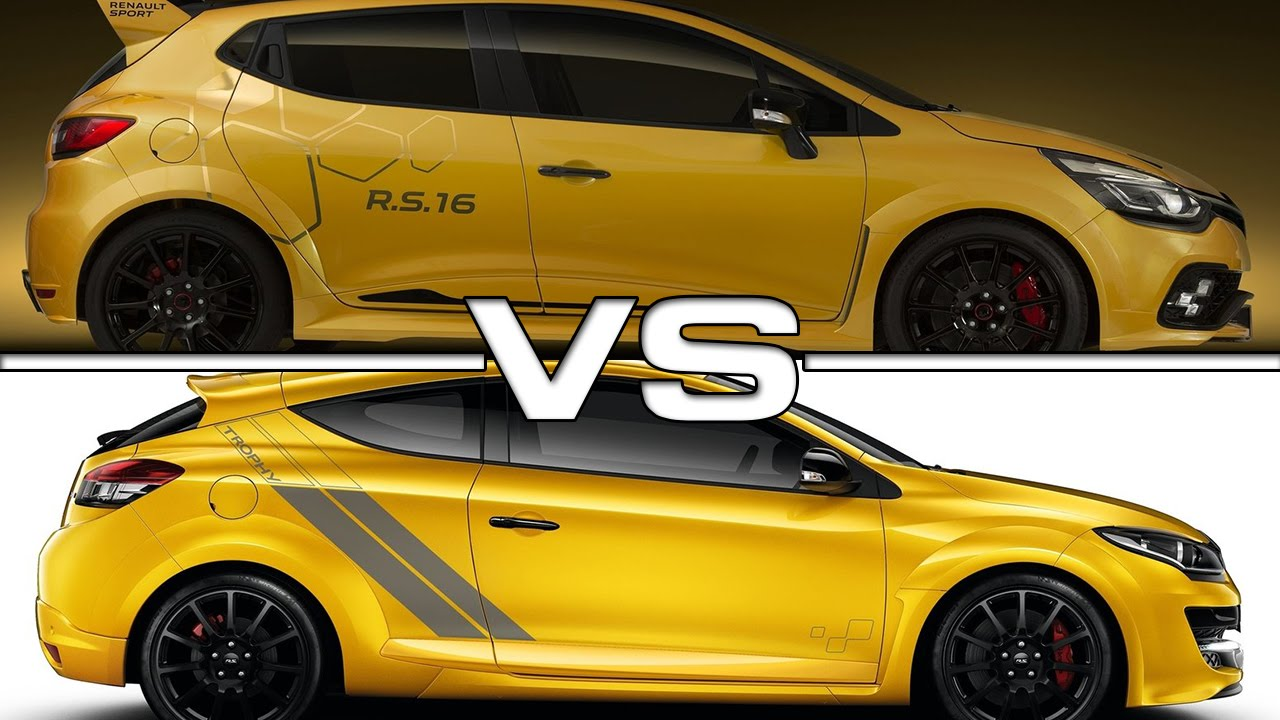 renault clio rs16 vs renault megane rs trophy 275 youtube. Black Bedroom Furniture Sets. Home Design Ideas
